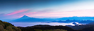 Sunrise Panorama of Mt Fuji, Suruga Bay, and Numazu, Japan.  Large file and can be printed at 60 inches wide.