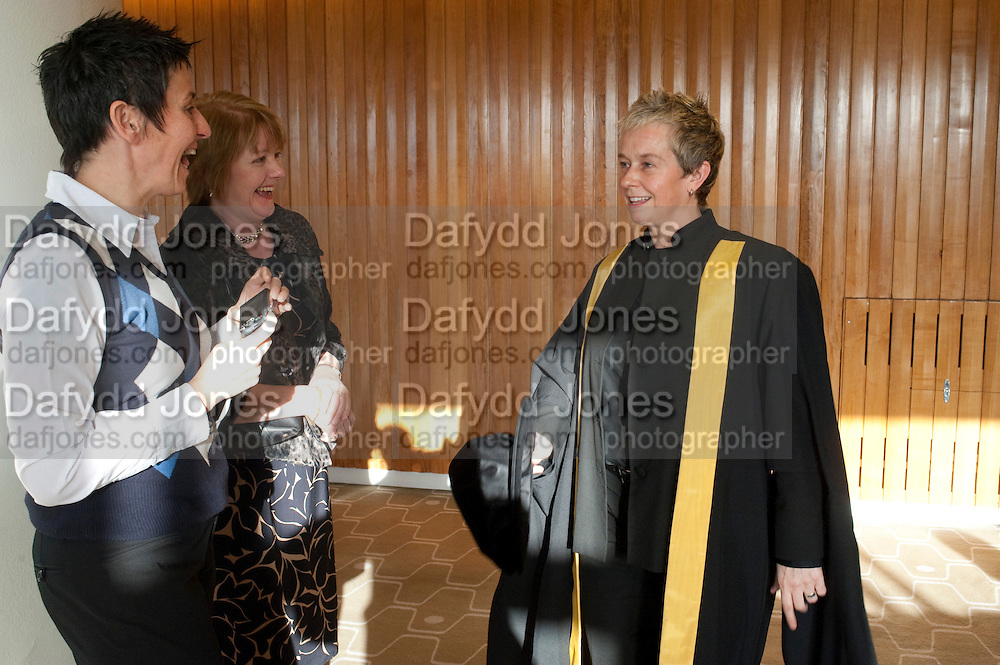 EVA SAN ROMAN; ANNE MILLMAN; HELEN LANNAGHAN, Central School of Speech and Drama presents Honory Fellowships to Carrie Fisher, Bette Bourne, Joseph Selig and Helen Lannaghan. Royal Festival Hall. London. 12 December 2011.