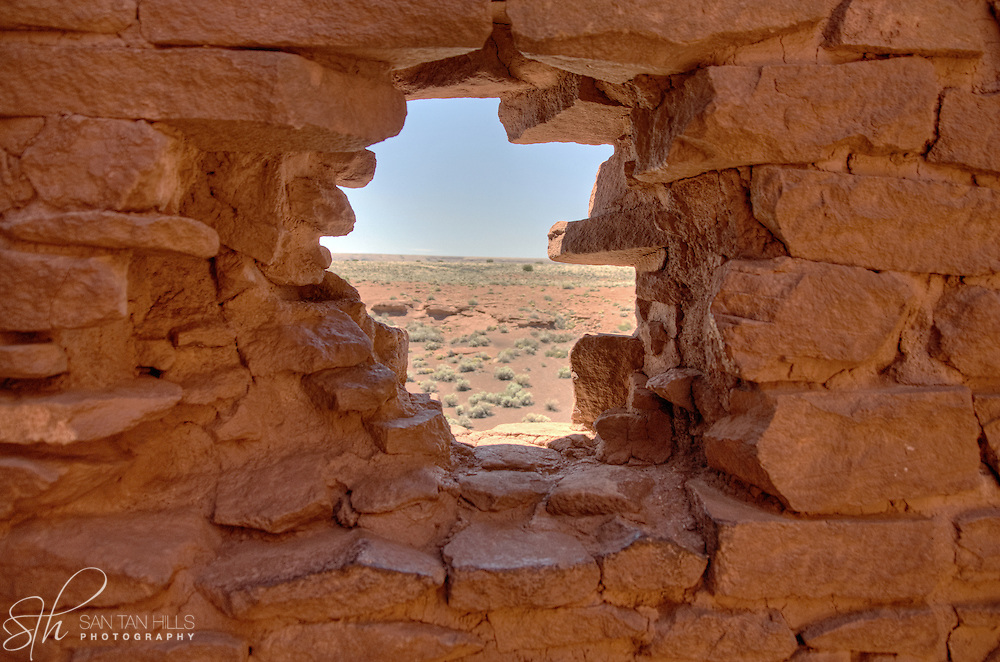 View through one of the windows at Wukoki Pueblo - Wupatki National Monument, AZ