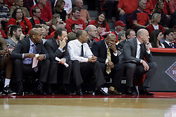 20 March 2017:  Johnny Dawkins and his staff during a College NIT (National Invitational Tournament) 2nd round mens basketball game between the UCF (University of Central Florida) Knights and Illinois State Redbirds in  Redbird Arena, Normal IL<br />
