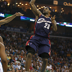 Mar 24, 2010; New Orleans, LA, USA; Cleveland Cavaliers forward LeBron James (23) shoots against the New Orleans Hornets during the first half at the New Orleans Arena. Mandatory Credit: Derick E. Hingle-US PRESSWIRE
