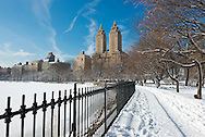 Snow covered trees around the Jacqueline Kenndy Onassis Reservoir in Central Park, Manhattan, New York City, New York State, U.S.A.