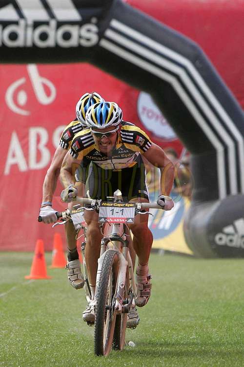Karl Platt and Stefan Sahm of team Bulls 1 during the (time trial) stage five of the 2010 Absa Cape Epic Mountain Bike stage held in Worcester in the Western Cape, South Africa on the 25 March 2010.Photo by Ron Gaunt/SPORTZPICS