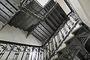 gusseiserne Treppe, Treppenhaus, Göbels Hotel Quellenhof, Brunnenallee, Kurviertel, Bad Wildungen, Nordhessen, Hessen, Deutschland   cast iron stair case,Göbels Hotel Quellenhof, spa quarter, Bad Wildungen, Hesse, Germany