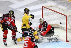 24.11.2013, Albert Schultz Eishalle, Wien, AUT, EBEL, UPC Vienna Capitals vs HC Orli Znojmo, 40. Runde, im Bild Tor fuer die Capitals durch Jamie Fraser, (UPC Vienna Capitals, #44), Zdenek Blatny, (HC Orli Znojmo, #13), Antonin Boruta, (HC Orli Znojmo, #15)u nd Sasu Hovi, (HC Orli Znojmo, #1) // during the Erste Bank Icehockey League 40th Round match between UPC Vienna Capitals and HC Orli Znojmo at the Albert Schultz Ice Arena, Vienna, Austria on 2013/11/24. EXPA Pictures © 2013, PhotoCredit: EXPA/ Thomas Haumer