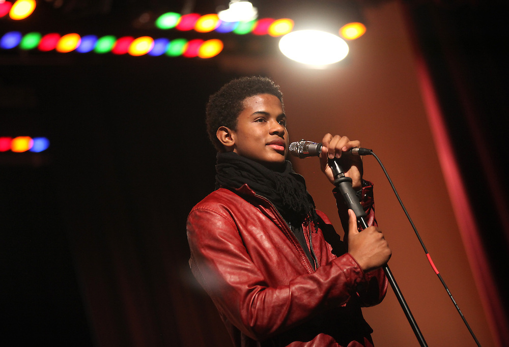 Actor and musician Trevor Jackson performs a song during a Christmas program at Manuel High School Tuesday December 18, 2012. Jackson attended the Concord Community Center as a younger child and was back visiting his home town. .Chris Bergin/ for The Star