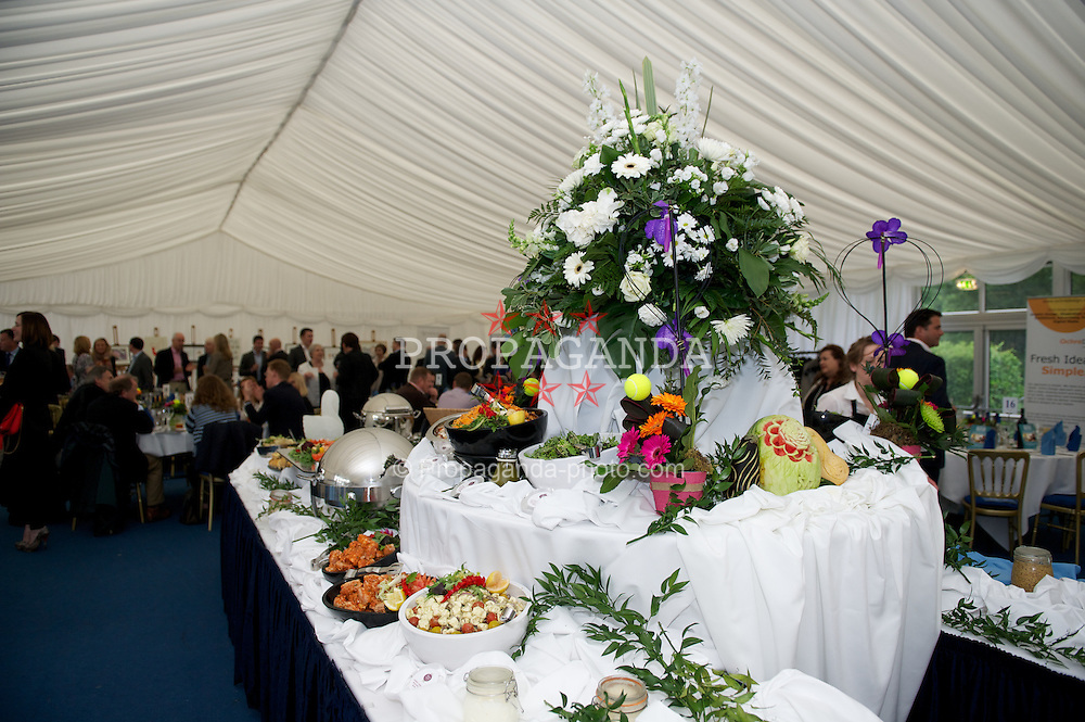 LIVERPOOL, ENGLAND - Friday, June 22, 2012: Foot in the corporate hospitality tent during day two of the Medicash Liverpool International Tennis Tournament at Calderstones Park. (Pic by David Rawcliffe/Propaganda)