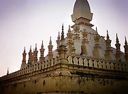 Vat That Luang, Festival, Vientiane, Laos, Asia. Golden architecture of the buddhist temple at dusk.