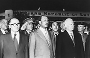 President Anwar Sadat (1918-1981) President of Egypt, centre, with the Israeli Prime Minister, Menachem Begin (1913-1992), at the start of his historic visit to Israel in 1977.