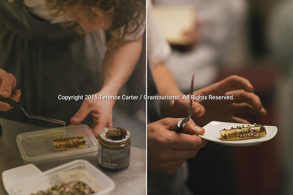Chef Thomas plates a sample of one of the desserts for the night, 'sugarcane'. Copyright 2015 Terence Carter / Grantourismo. All Rights Reserved.