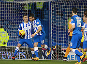 Brighton striker Tomer Hemed celebrates after making it 1-0 from the penalty spot during the Sky Bet Championship match between Brighton and Hove Albion and Leeds United at the American Express Community Stadium, Brighton and Hove, England on 29 February 2016. Photo by Bennett Dean.