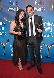 February 17, 2019 - Los Angeles, California, United States of America - Dava Whisenant (L) and Ozzy Inguanzo, winners of Documentary Screenplay, pose in the press room of the 2019 Writers Guild Awards at the Beverly Hilton Hotel on Sunday February 17, 2019 in Beverly Hills, California. JAVIER ROJAS/PI (Credit Image: © Prensa Internacional via ZUMA Wire)