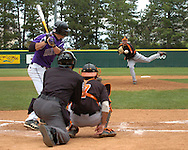 Oklahoma State starting pitcher Josh Fritsche fires in a pitch to the plate against Kansas State's Joe Roundy.  Oklahoma State defeated K-State 9-4 in 10 innings at Tointon Stadium in Manhattan, Kansas, April 30, 2006.