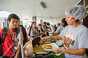 Scarborough's Nutrition Services team serves students during a tailgate party on Sept. 22.