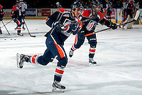 KELOWNA, CANADA -FEBRUARY 1: Carson Bolduc LW #19 of the Kamloops Blazers takes a shot during warm up against the Kelowna Rockets on February 1, 2014 at Prospera Place in Kelowna, British Columbia, Canada.   (Photo by Marissa Baecker/Getty Images)  *** Local Caption *** Carson Bolduc;