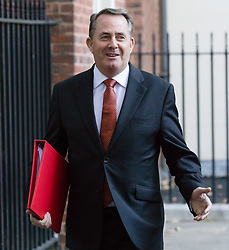 © Licensed to London News Pictures. 09/10/2018. London, UK.  Liam Fox,<br /> Secretary of State for International Trade and President of the Board of Trade leaving Downing Street after a cabinet meeting.  Photo credit: Vickie Flores/LNP