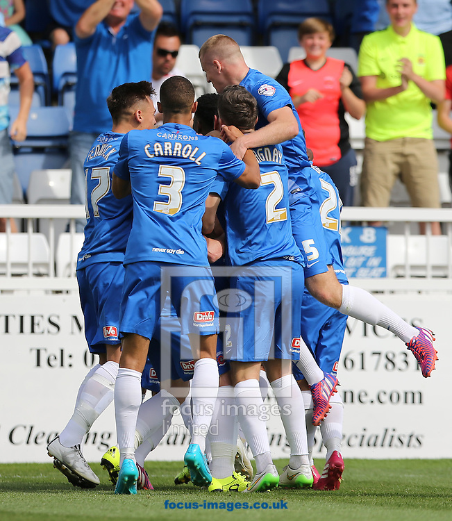 Hartlepool United celebrate scoring the opening goal during the Sky Bet League 2 match at Victoria Park, Hartlepool<br /> Picture by Simon Moore/Focus Images Ltd 07807 671782<br /> 08/08/2015