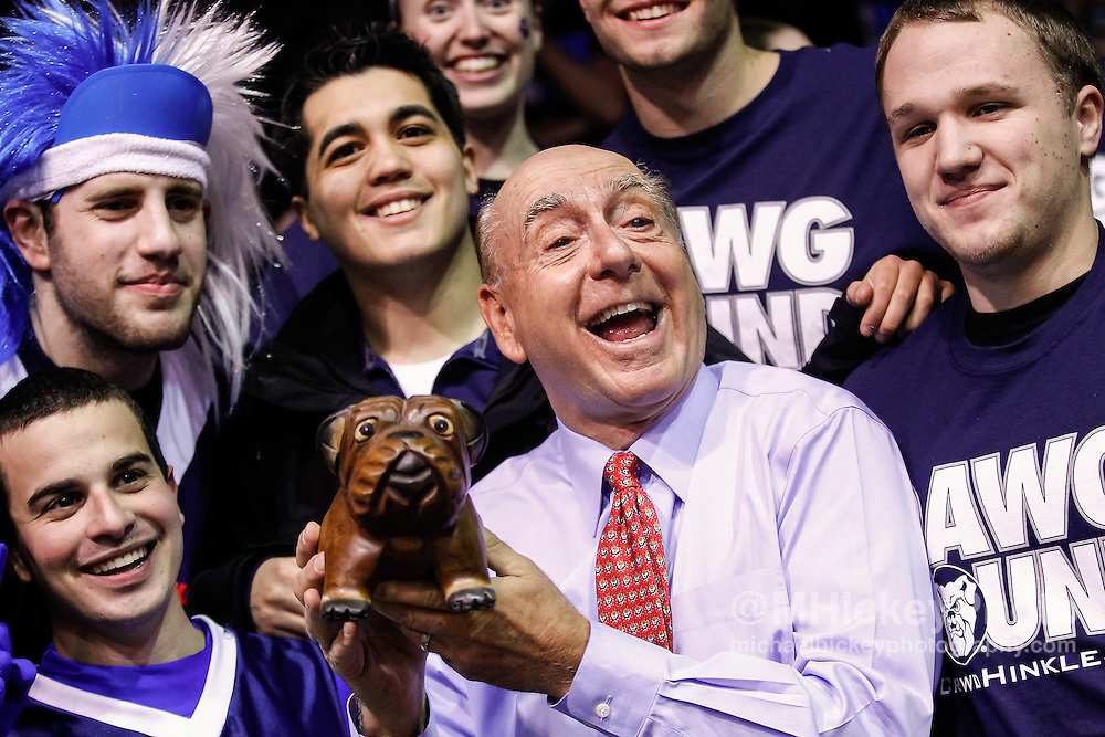 INDIANAPOLIS, IN - JANUARY 19: ESPN college basketball analyst Dick Vitale films a segment with Butler University students before the game against the Gonzaga Bulldogs at Hinkle Fieldhouse on January 19, 2013 in Indianapolis, Indiana. Butler defeated Gonzaga 64-63. (Photo by Michael Hickey/Getty Images)