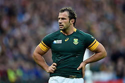 Bismarck Du Plessis of South Africa looks on during a break in play - Mandatory byline: Patrick Khachfe/JMP - 07966 386802 - 07/10/2015 - RUGBY UNION - The Stadium, Queen Elizabeth Olympic Park - London, England - South Africa v USA - Rugby World Cup 2015 Pool B.