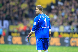 15.02.2014, Signal Iduna Park, Dortmund, GER, 1. FBL, Borussia Dortmund vs Eintracht Frankfurt, 21. Runde, im Bild Torwart Kevin Trapp (Eintracht Frankfurt #1) enttaeuscht, niedergeschlagen, traurig, Emotion // during the German Bundesliga 21th round match between Borussia Dortmund and Eintracht Frankfurt at the Signal Iduna Park in Dortmund, Germany on 2014/02/15. EXPA Pictures © 2014, PhotoCredit: EXPA/ Eibner-Pressefoto/ Schueler<br /> <br /> *****ATTENTION - OUT of GER*****