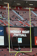 Monday Night Football appears on the scoreboard through the goal posts before the NFL week 11 football game against the Chicago Bears on Monday, Nov. 19, 2012 in San Francisco. The 49ers won the game 32-7. ©Paul Anthony Spinelli