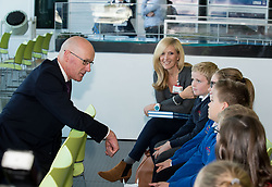 Pictured: Education Secretary John Swinney MSP meets some of the primary school pupils at the launch of the new interactive educational games.<br /> <br /> &copy; Dave Johnston / EEm
