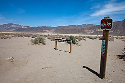Warning sign prohibiting vehicles on the Racetrack playa, Death Valley National Park, California, United States of America