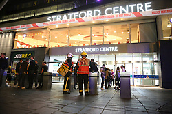 Emergency services at Stratford Centre in east London, following a suspected noxious substance attack where six people have been reported injured.