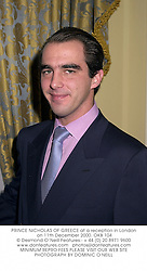 PRINCE NICHOLAS OF GREECE at a reception in London on 11th December 2000.	OKB 104