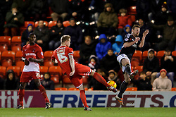 Bristol City Midfielder Wade Elliott (ENG) deflects a shot from Leyton Orient Defender Nathan Clarke (ENG) - Photo mandatory by-line: Rogan Thomson/JMP - 07966 386802 - 11/02/2014 - SPORT - FOOTBALL - The Matchroom Stadium, London - Leyton Orient v Bristol City - Sky Bet Football League 1.