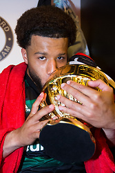 Tonny Vilhena of Feyenoord, cup, trophy, dressing room during the Dutch Toto KNVB Cup Final match between AZ Alkmaar and Feyenoord on April 22, 2018 at the Kuip stadium in Rotterdam, The Netherlands.