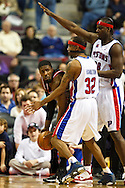 March 28 2010:  Chicago Bulls' Taj Gibson (22), Detroit Pistons' Richard Hamilton (32) and Detroit Pistons' Kwame Brown (38) during the NBA basketball game between the Chicago Bulls and Detroit Piston at  the Palace in Auburn Hills, Michigan.
