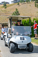 KELOWNA, CANADA - JULY 21: Kris Mallette drives the golf cart at the Kelowna Rockets Alumni golf tournament at Black Mountain Golf Club in Kelowna, British Columbia, Canada.  (Photo by Marissa Baecker/Shoot the Breeze)  *** Local Caption ***