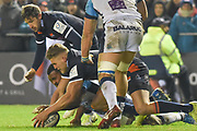 Duhan van der Merwe is first to the loose ball during the Heineken Champions Cup match between Edinburgh Rugby and Montpellier Herault Rugby at BT Murrayfield Stadium, Edinburgh, Scotland on 18 January 2019.