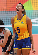 RIO DE JANEIRO, BRAZIL - AUGUST 16:<br /> <br /> Thaisa Menezes #6 of Brazil in action during the Women\'s Quarterfinal match between China and Brazil on day 11 of the Rio 2106 Olympic Games at the Maracanazinho on August 16, 2016 in Rio de Janeiro, Brazil.<br /> ©Exclusivepix Media