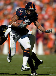 Virginia tight end Mikell Simpson (5) breaks a tackle.  The #23 Virginia Cavaliers defeated the #24 Wake Forest Demon Deacons 17-16 at Scott Stadium in Charlottesville, VA on November 3, 2007.