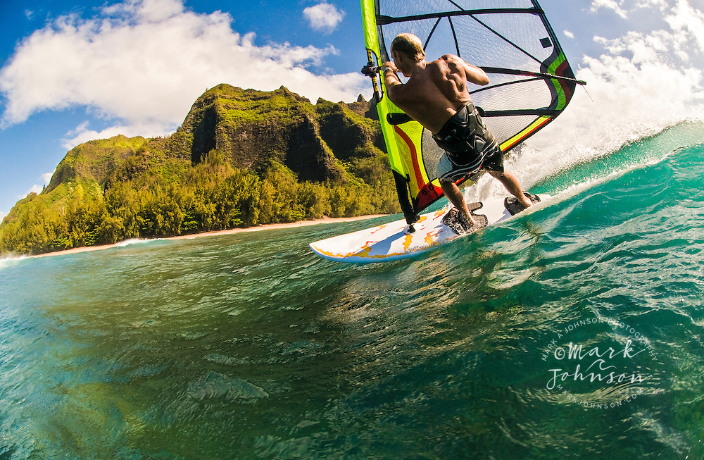 Windsurfing off the Na Pali coast of Kauai, Hawaii