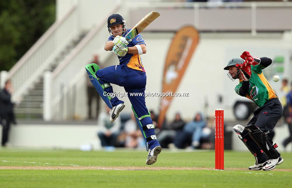 Brendon McCullum plays a ball down fine-leg.<br /> Twenty20 Cricket - HRV Cup, Otago Volts v Central Stags, 18 December 2011, University Oval, Dunedin, New Zealand.<br /> Photo: Rob Jefferies/PHOTOSPORT