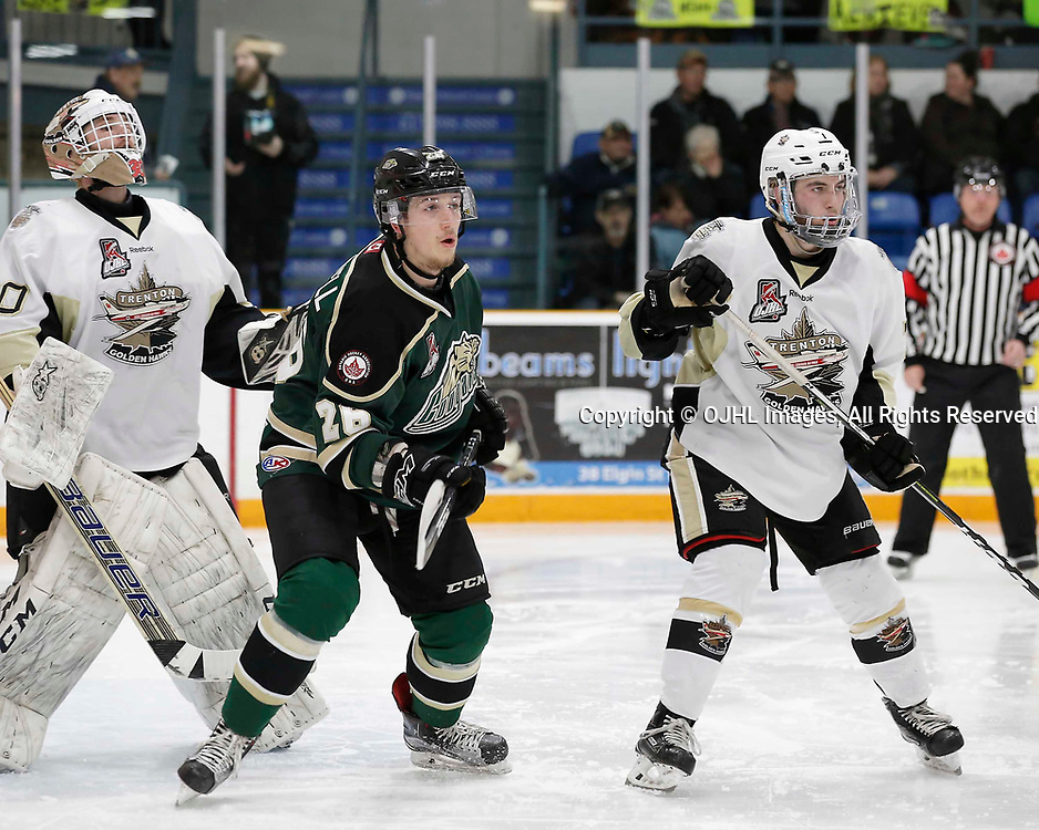 TRENTON, ON - APR 4,  2017: Ontario Junior Hockey League, North East Conference Championship game between Trenton Golden Hawks and the Cobourg Cougars. Jake Bricknell #26 of the Cobourg Cougars and Brandon Marinelli #7 of the Trenton Golden Hawks during the play in the second period<br /> (Photo by Amy Deroche / OJHL Images)