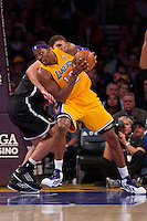 20 November 2012: Center (12) Dwight Howard of the Los Angeles Lakers turns to drive to the basket against the Brooklyn Nets during the first half of the Lakers 95-90 victory over the Nets at the STAPLES Center in Los Angeles, CA.