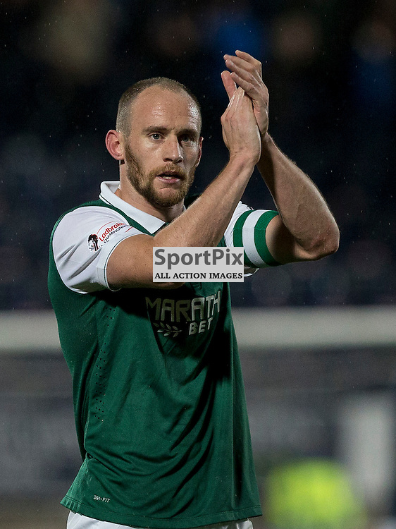 Falkirk v Hibernian   SPFL season 2015-2016  <br /> <br /> David Gray (Hibernian captain) applauds fans at end during the Ladbrokes Championship match between Falkirk v Hibernian at Falkirk Stadium on 20 October 2015<br /> <br /> Picture: Alan Rennie