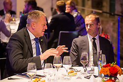 Zdravko Počivalšek, minister za gospodarski razvoj in tehnologijo and Aleksander Čeferin, president of UEFA at Official dinner ahead to the UEFA Futsal EURO 2018 Draw, on September 28, 2017 in Ljubljanski grad, Ljubljana, Slovenia. Photo by Vid Ponikvar / Sportida