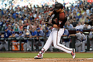 Apr 22, 2017; Phoenix, AZ, USA; Arizona Diamondbacks right fielder David Peralta (6) doubles to deep center in the first inning against the Los Angeles Dodgers at Chase Field. The Arizona Diamondbacks won 11-5. Mandatory Credit: Jennifer Stewart-USA TODAY Sports