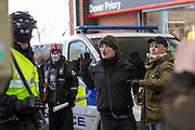 Facist demonstrators clash with police and Anti Facist demonstrators marching through Dover at a counter demonstration also taking place in the port town. 30th January 2016
