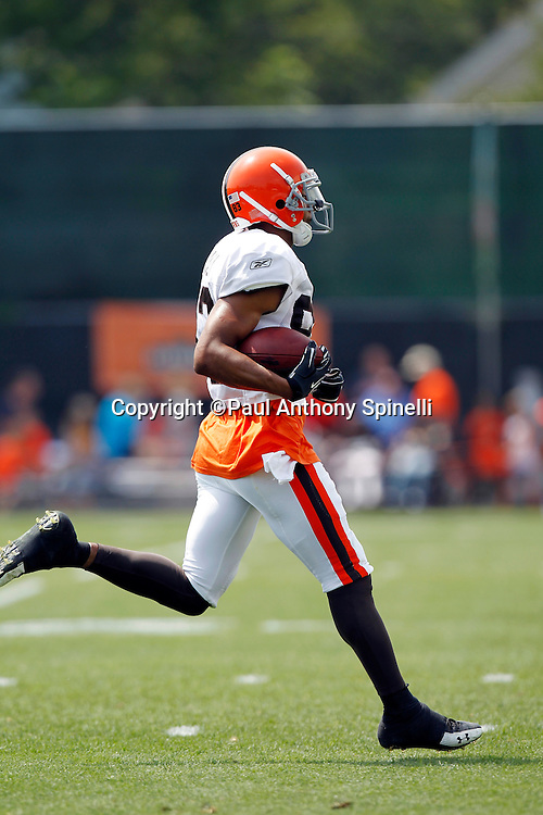 Cleveland Browns wide receiver Chansi Stuckey (83) runs with the ball after catching a pass during NFL football training camp at the Cleveland Browns Training Complex on Monday, August 9, 2010 in Berea, Ohio. (©Paul Anthony Spinelli)