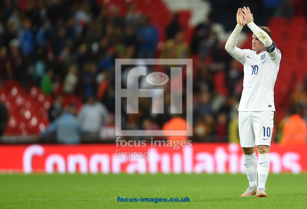Wayne Rooney of England celebrates at the final whistle of the UEFA Euro 2016 Qualifying match at Wembley Stadium, London<br /> Picture by Daniel Hambury/Focus Images Ltd +44 7813 022858<br /> 08/09/2015