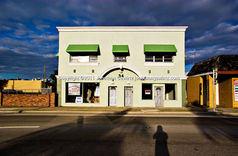 Morning sun illuminates a building on Dixie Highway, Dania, Florida. WATERMARKS WILL NOT APPEAR ON PRINTS OR LICENSED IMAGES.