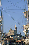 France. Marseille. OLD PORT. NOTRE DAME DE LA GARDE CHURCH AND THE BELEM . BOAT  Marseille  France  / LE VIEUX PORT. NOTRE DAME DE LA GARDE. LE TROIS MATS BELEM  Marseille  France  /     L0008305  /  R20711  /  P115619