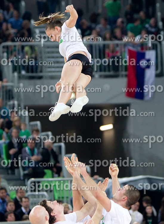 Cheerleaders  during basketball match between KK Union Olimpija (SLO) and Panathinaikos (GRE) in Group D of Turkish Airlines Euroleague, on November 4, 2010 in Arena Stozice, Ljubljana, Slovenia. Union Olimpija defeated Panathinaikos 85-84. (Photo By Vid Ponikvar / Sportida.com)