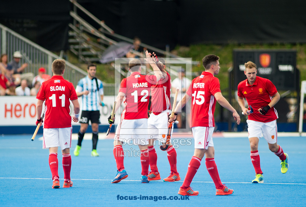 England celebrating Mark Gleghorne's goal on day four of the Men's Hero Hockey World League Semi-Finals at Lee Valley Hockey Centre, Stratford<br /> Picture by Hannah Fountain/Focus Images Ltd 07814482222<br /> 18/06/2017